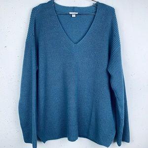 J Jill blue V neck popover sweater cotton blend LP